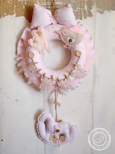 Hospital Door Hanger & Decoration Baby Girl Birth by LollyCloth