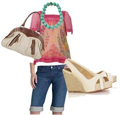 eci New York floral bouse, $78  7 For All Mankind flaming A pocket crop stretch jeans, $209  Banana Republic faceted resin beaded necklace, $38  Forever 21 woven dome satchel, $25.80  Christian Louboutin piluca espadrille wedges, $360