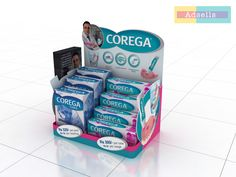 corega counter top on Behance Pop Display, Display Design, Counter Display, Point Of Purchase, Visual Merchandising, Packaging Design, Countertops, Branding, Behance