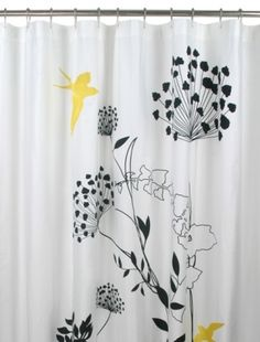 Image Of The Anis Graphic Black And White Shower Curtain With Yellow Birds
