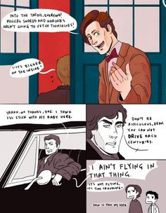 SuperWhoLock (with Merlin honorable mention!) ||| So basically I think Dean would argue some more and then either Cas or Sam would get him to go, so he would, but he'd find a way to drive his Impala inside the TARDIS just to prove a point