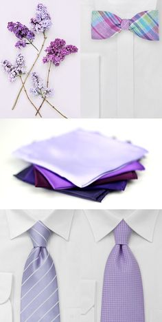 Find the perfect assortment of groomsmen accessories in lavender.