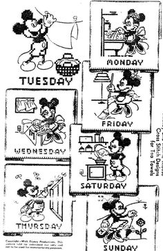 Mickey Mouse Cross Stitch Days of the Week Hand Embroidery McCall's 796 Vintage…