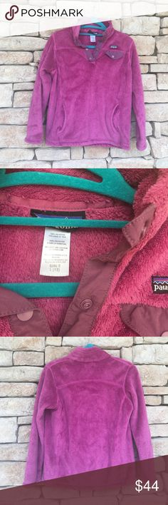 PATAGONIA RETOOL SWEATER Gently Preloved girls PATAGONIA RWTOOL SWEATER in a pretty magenta color! Still super soft. Size is a girls 12 (L). ☀️POSH ONLY☀️ Patagonia Shirts & Tops Sweaters