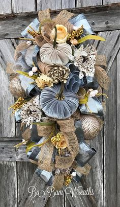 Beautiful Velvet Champagne and Silver Pumpkin Wreath Fall Swag Wreath This is one of the most beautiful autumn wreaths I have ever seen! Thanksgiving Wreaths, Autumn Wreaths, Thanksgiving Decorations, Holiday Wreaths, Wreath Fall, Pumpkin Wreath, Spring Wreaths, Thanksgiving Ideas, Fall Decorations