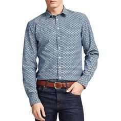 Thomas Pink Jackson Print Casual Shirt - Bloomingdale's Slim Fit ($135) ❤ liked on Polyvore featuring men's fashion, men's clothing, men's shirts, men's casual shirts, mens print shirts, mens patterned shirts, mens slim fit shirts and mens slim fit casual shirts