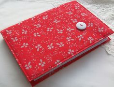 Vintage Laura Ashley - red and grey A6 fabric covered notebook £5.00
