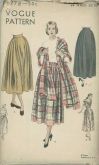 An original ca. 1948 Vogue Pattern 6278.  Skirt and Stole - Three-piece skirt in two lengths has soft pleats at sides and back.  Finished on waist-band.  Long stole may be worn in various styles.