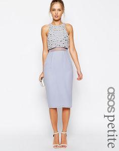 ASOS Petite   ASOS PETITE Pearl Embellished Crop Top Midi Dress at ASOS