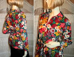 70's Mod Hippie Top, Flower Power Pullover, from Morning Glorious Vintage