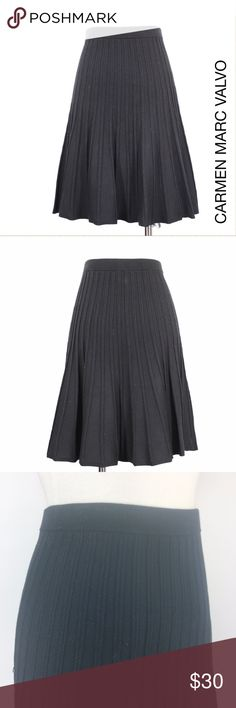 "CMV | Knife A Line Midi Pleated Knit Skirt 921 Carmen Marc Valvo Women's Black Midweight Knit A Line Pleated Elastic Waist Skirt. Pull Up. Unline. Retails $350 Size: S Small Waist: 13"" Length: 21.5"" Leg Open: "" Condition: Very Good! Comes from a pet and smoke free environment!  Please review pictures and contact me if you have any questions. Color: Black Pattern: Solid Material: 75% Viscose, 22% Polyester, 3% Spandex Country: China WT: 1.4 CSKU: 921; 2 All measurements are approximate and…"