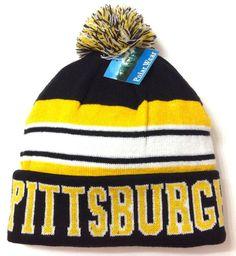 cfad5e82174 PITTSBURGH POM BEANIE Black Yellow Winter Knit Ski Hat  Steelers Pirates-Colors  PolarWear  Beanie