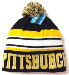 PITTSBURGH POM BEANIE Black/Yellow Winter Knit Ski Hat Steelers/Pirates-Colors #PolarWear #Beanie