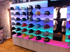 Retail Wall Displays, Hat Storage, M Shop, Sock Shop, Retail Space, Hats For Men, Man Cave, Product Display, Men's Hats