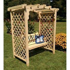A & L Furniture Jamesport 7.3 ft. Wood Arbor with Swing - 1617_CEDAR