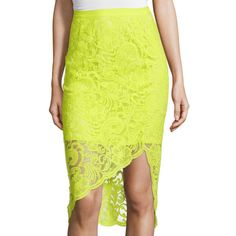 Bisou Bisou Asymmetrical Lace Pencil Skirt ($30) ❤ liked on Polyvore featuring skirts, pencil skirts, bisou bisou skirts, lace skirts, yellow pencil skirt and lacy skirt