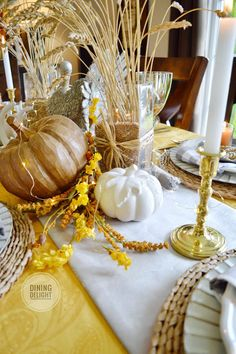 The tablescape I created for Thanksgiving this year was inspired by a recent ad by Pier 1 Imports (yes, again!) which included shades of o. Thanksgiving Table Settings, Thanksgiving Centerpieces, Seasonal Decor, Fall Decor, Wheat Centerpieces, Square Glass Vase, White String Lights, Turkey Colors, Spring Design
