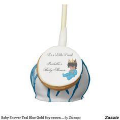 Baby Shower Teal Blue Gold Boy crown prince Cake Pops