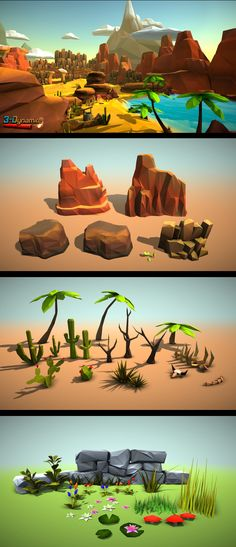 Low Poly Environment Pack for all of you that want to make low poly style environments easily. All models are coloured by vertex color techniques so no textures and only a few materials are needed. Different environments: Dessert forest winter autumn. Game Environment, Environment Concept Art, Environment Design, Bg Design, Game Design, Low Poly Games, Game Textures, Polygon Art, Low Poly Models