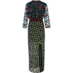 Saloni     Jennifer-F Floral Midi Dress (20 370 UAH) ❤ liked on Polyvore featuring dresses, floral, sheer midi dress, long sheer skirt, long midi skirt, floral maxi skirt and floral wrap dress