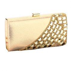 Glamour Rhinestone Rivet Studded Wedding Party Prom Gold Chain Strap Clutch Wallet Purse Handbag-Gold