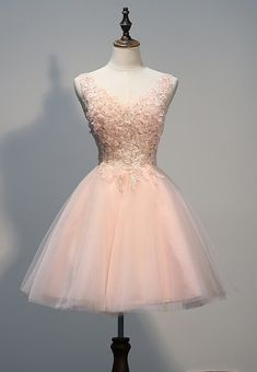 Prom Lovely Light Pink Tulle Short Prom Dress with Lace Applique, Pink Homecoming Dresses, Party Dresses / BeMyBridesmaid Hoco Dresses, Tulle Prom Dress, Cheap Prom Dresses, Lace Dress, Formal Dresses, Party Dresses, Pink Dresses, Royal Blue Dresses, Elegant Dresses
