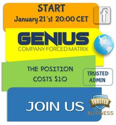 Don't miss GENIUS Matrix start on Sunday January 21. 2018, 20:00 CET Server Time (8PM)  because it will give you entry in the whole YSP matrix system with  extra positions in their SUB Matrix and all YSP matrixes… Make a first step towards your financial freedom, register here:https://goo.gl/kCFk3P