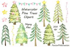 Watercolor Pine Trees Clipart by PassionPNGcreation on @creativemarket