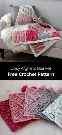Cosy Afghan Crochet ALong - Free Pattern (Beautiful Skills - Crochet Knitting Quilting) - Handarbeit Crochet Quilt, Afghan Crochet Patterns, Crochet Home, Knit Or Crochet, Crochet Crafts, Crochet Projects, Knitting Patterns, Crochet Blankets, Crochet Afghans