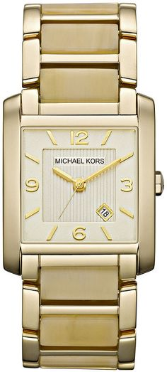 Michael Kors Watch, Women's Frenchy Gold Tone Stainless Steel and Horn Acetate Bracelet 26x29mm MK4251