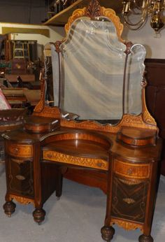 Vintage Art Deco Waterfall Bedroom 4 Piece Set Bed Armoire Dresser Vanity 4800 On