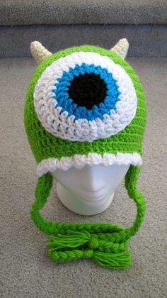 Newborn to Adult Mike Wazowski Inspired Monster's Inc Crochet Hat Made to Order, gorro crochet Mike monstruos Crochet Kids Hats, Crochet Beanie Hat, Crochet Crafts, Yarn Crafts, Crochet Clothes, Crochet Projects, Knitted Hats, Knitting Projects, Monsters Inc Crochet