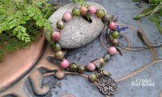 Flower bracelet pink/green gemstone bracelet bohemian