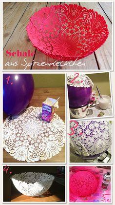 www.lybstes.de Schale aus Spitzendeckchen DIY Neon