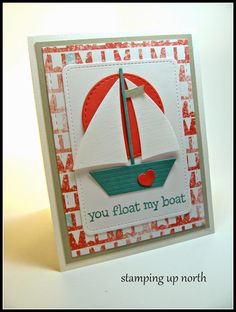 stamping up north - Stamps: Lawn Fawn's Float my Boat - Dies: Die-namics sailboat, lil inker stitched rectangle and circle,Lawn fawn's stitched journal die