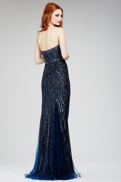 Blue Strapless Sheath Dress 24438 - Evening Dresses