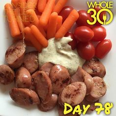 """""""Meals are ridiculously simple when your daughter decides to wake every hour on the hour the night before.  This practically no cook lunch is brought to you by chicken sausage, grape tomatoes, baby carrots, and homemade ranch.  #help #sendcoffee  #whole30 #whole100 #CTLTwhole100 #whole30homies #2015IGwhole30 #cleanwhole30 #eatrealfood #cleaneating #jerf #healthy #mealideas #paleo #recipe #blog #considertheleafTURNED #day78"""" Photo taken by @considertheleafturned on Instagram, pinned via the…"""