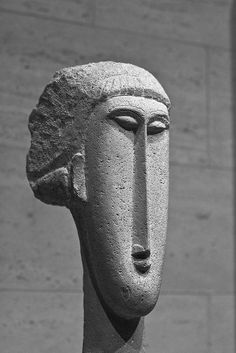 Head of a Woman Modigliani stone sculpture at the National Gallery of Art in Washington, DC | via Thad Zajdowicz
