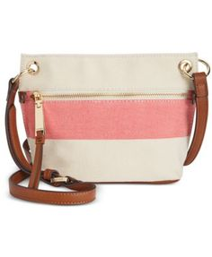TOMMY HILFIGER Tommy Hilfiger Camille Rugby Stripe Micro Mini Crossbody. #tommyhilfiger #bags #shoulder bags #leather #canvas #crossbody #cotton #