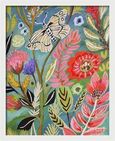 Bohemian Painting, Bohemian Wall Art, Bohemian Style, Art Floral, Floral Prints, Illustration Blume, Large Art Prints, Framed Prints, Flower Art