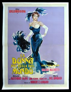 Vintage La Donna Piu Bella Del Mondo - Beautiful But Dangerous French Translation - Gina Lollobrigida, Vittorio Gassman - 1955 Theatre Movie Digital Print Poster Movie Posters For Sale, Best Movie Posters, Classic Movie Posters, Original Movie Posters, Cinema Posters, Classic Movies, Art Vintage, Poster Vintage, Vintage Travel Posters