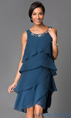 Buy Sleeveless Tiered Knee Length Dress 114614 with Matching Bolero at SimplyDresses Short Semi Formal Dresses, Sequin Formal Dress, Short Dresses, Elegant Dresses, Beautiful Dresses, Day Dresses, Prom Dresses, Frock For Women, Frock Fashion
