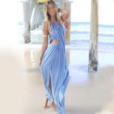 BEAUTIFUL! Bandage V-Neck Beach Boho Maxi Sundress Evening Party Long Dress - $30