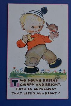 """POSTCARD: MABEL LUCIE ATTWELL CHILDREN """"TWO YOUNG ROBINS"""" 1950's in Collectables, Postcards, Comic/ Seaside Humour   eBay"""