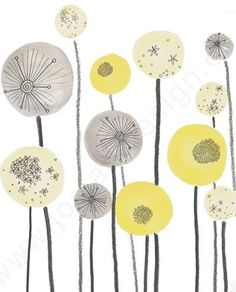 Love this print for the nursery. Yellow and Grey Seed head Spheres Abstract Illustration, Jo Clark Designs Zentangle, Palettes Color, Diy Tapete, Art Plastique, Artsy Fartsy, Pattern Design, Print Patterns, Art Projects, Illustration Art