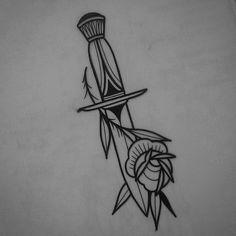 Mini Tattoos, Small Tattoos, Cool Tattoos, Nikko Hurtado, Tribal Tattoos, Geometric Tattoos, Rose And Dagger Tattoo, Neo Traditional Roses, Sleeve Tattoos