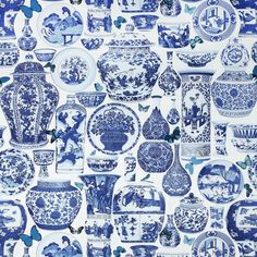 Blue and white fabric from Manuel Canovas