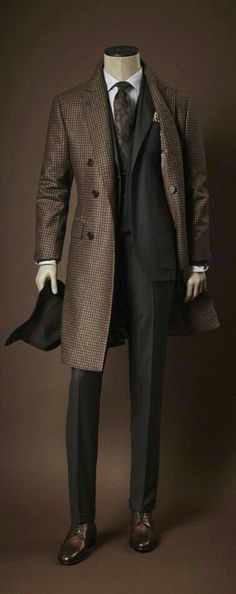 Brown tweed long coat