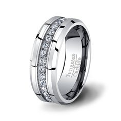 Mens Wedding Band High End Tungsten Ring Stacked CZ Diamonds 8mm Beveled Edge Polished Surface with Beveled Edges Comfort Fit