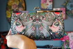 Eye of the Beholder Clutch  Bag - Womens Coral teal  Beautiful Day of the Dead Alternative Fashion Bag Purse Tattoo Art Pastel Goth Flowers